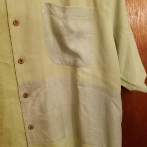 Tommy Bahama Shirts - Tommy Bahama green patchwork embossed shirt